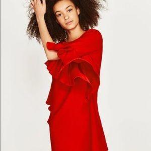 Zara Woman Red Asymetrical Ruffle Dress